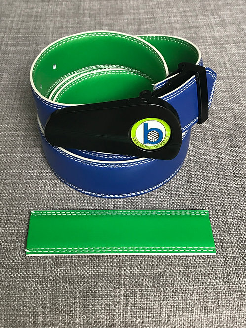 BLACK BUCKLE + BLUE/GREEN BELT