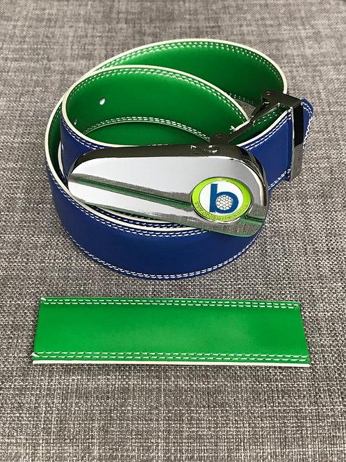 CHROME BUCKLE + BLUE/GREEN BELT