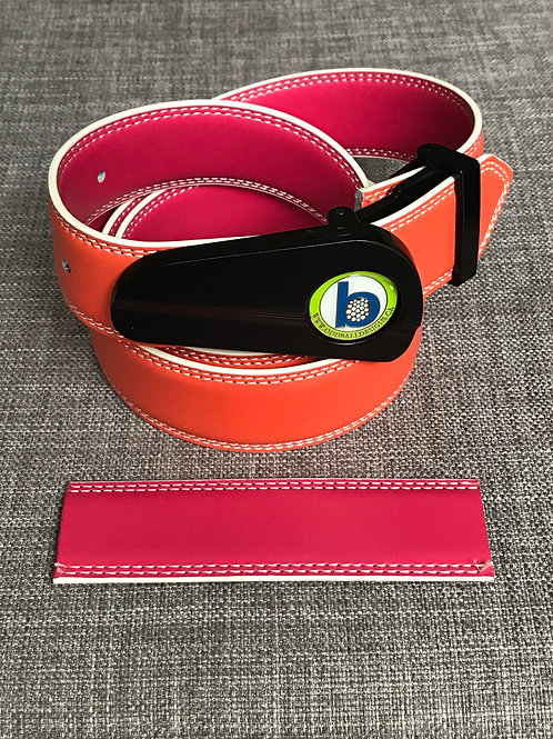 MATTE BLACK BUCKLE - REVERSIBLE - ORANGE & PINK