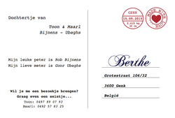 birth card Berthe