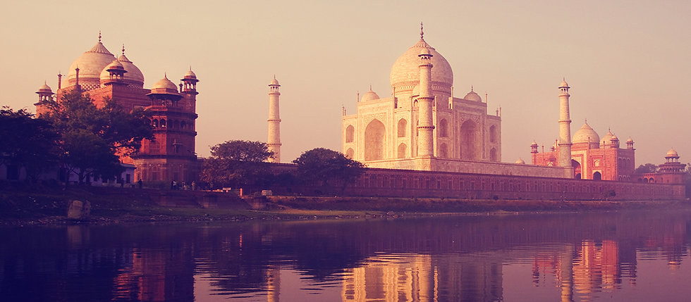 Taj Mahal complex from the Jamuna river - Beauty of India Tours