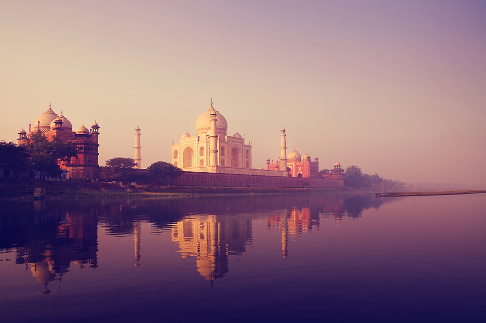 The Taj Mahal, built in 1653, located in Agra, Uttar Pradesh, India
