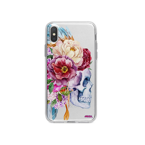 Craneo De La Flor iPhone X Case Clear