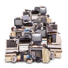 Pile of electronics to be recycled