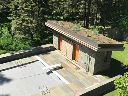 Green pool house