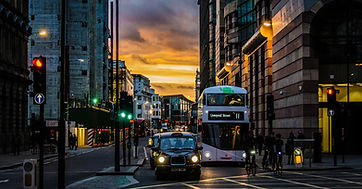 Traffic in rush hour London with bus and taxi