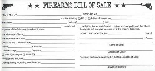 Permanent Firearms Bill Of Sale Record Book