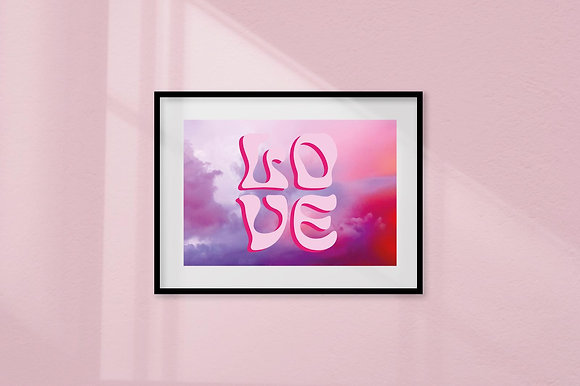 'Love is in the Air' pink framed art print by Doodlemoo and Jenny Frea