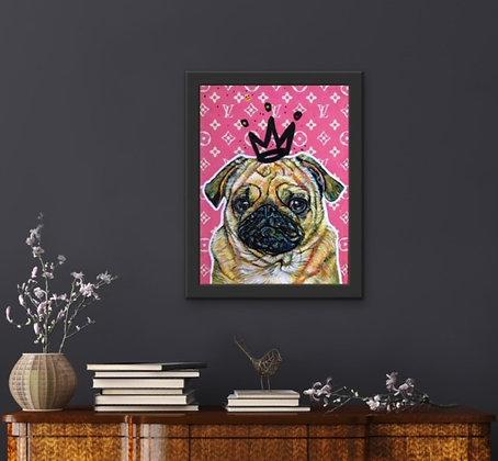 """""""Pug Princess in Pink"""" by Marie O'Hara"""