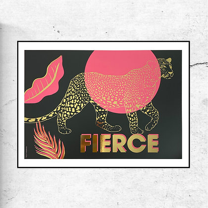 """""""FIERCE"""" Gold foil special edition art Print by Doodlemoo"""