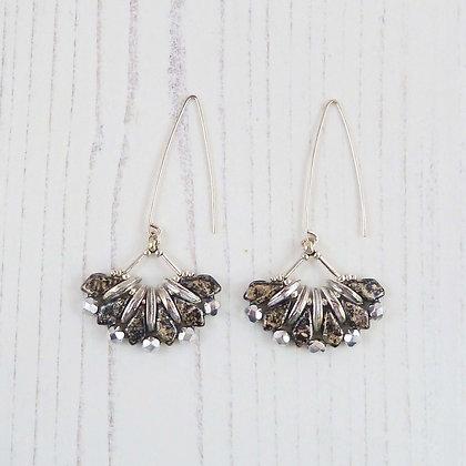 Long Black and Silver Beaded Fan Earrings by Beau Bella Jewellery