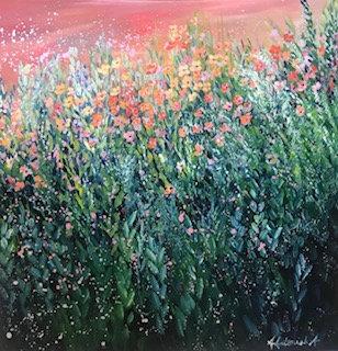 Meadow with sunset sky by Amie Antoniak