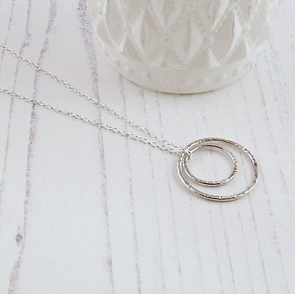 Two Silver Circles Eternity Necklace by Beau Bella Jewellery