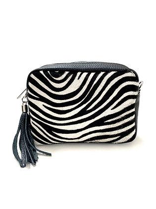 Zebra leather box bag by Olive & Me