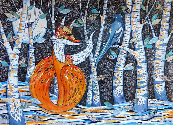 The Magpie and the Fox A4 Limited Edition Print by Judit Matthews
