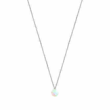 Silver Fine chain Necklace with Sea Opal Charm