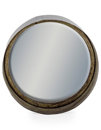 SMALL BLACK AND PEWTER DEEP FRAMED CYLINDER MIRROR