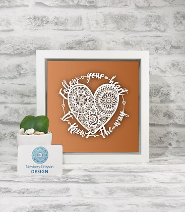 Hand cut, Framed 'Follow Your heart, it knows the way' Papercut by Newbery-Gray
