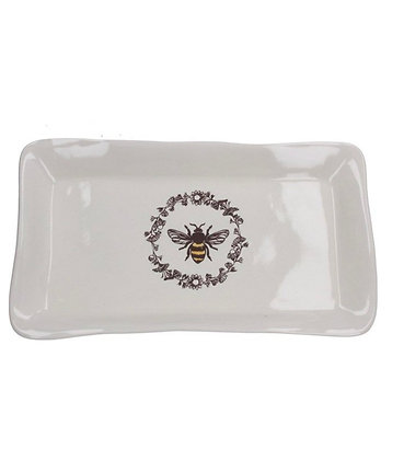 Ceramic Honey Bee Rectangular Plate - White