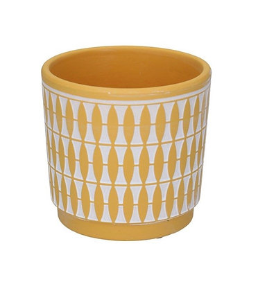 Pre- order Geometric Terracotta Plant Pot Cover - Mustard