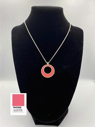 Handmade silver & coral resin necklace by My Silver Design