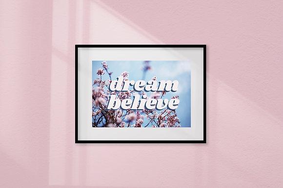 Dream Believe framed art print by Doodlemoo and Jenny Frear