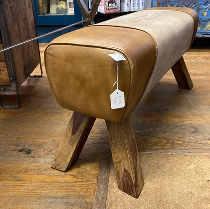 Brown Leather Stool With Parisian Styling