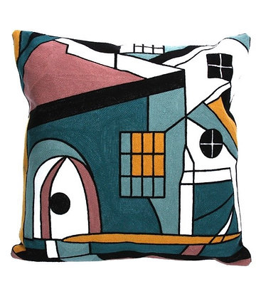 Embroidered Abstract Geo Cushion