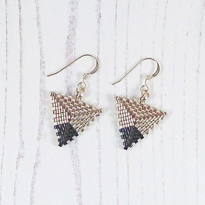 Silver and Black Tip Triangle Earrings by Beau Bella Jewellery