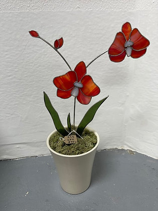 Orange Stained Glass Orchid by Rosie's Stained Glass