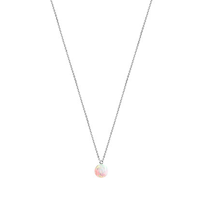Silver Fine Chain  Necklace with sun opal charm