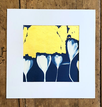 Crocus and Gold Leaf Print by She Makes