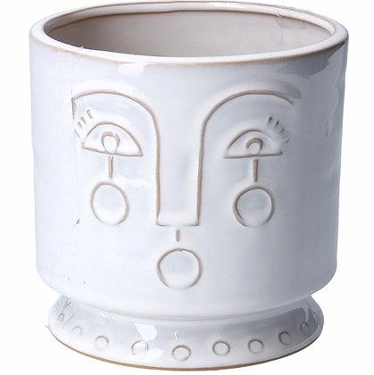 Ceramic Pot Cover 13cm - White Profile