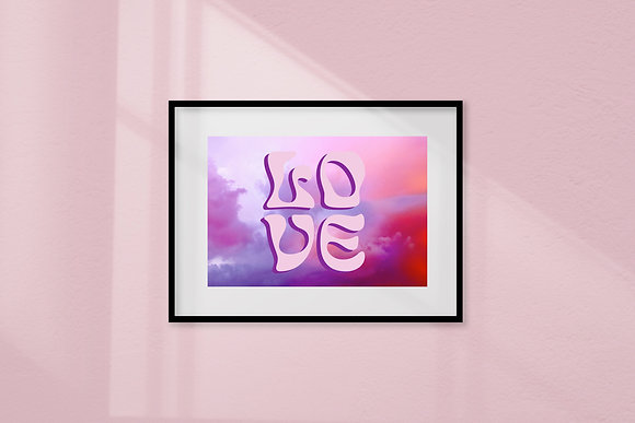 'Love is in the Air' purple framed art print by Doodlemoo and Jenny Frear