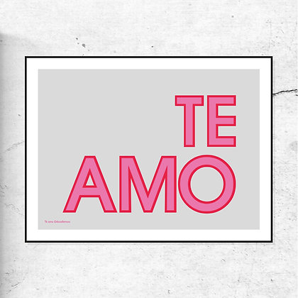 """TE AMO"" art print pink by Doodlmoo"