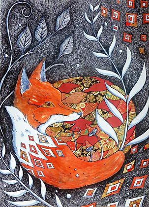 Fox in the Undergrowth A4 Limited Edition Print by Judit Matthews