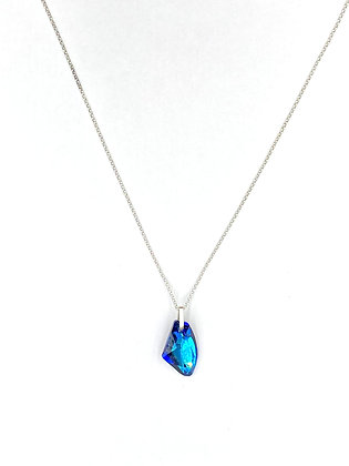 Crystal Bermuda Blue Silver Necklace, by My Silver Design