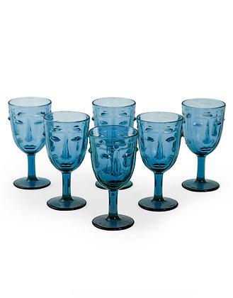 SET OF 6 BLUE DECO FACE WINE GLASSES
