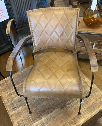 Leather Brown Quilted Arm Chair