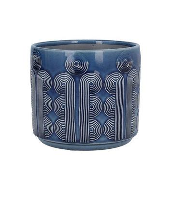 Pre- Order Circular Ceramic Plant Pot Cover - Navy