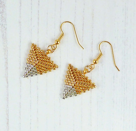 Gold and Silver Tip Triangle Earrings by Beau Bella Jewellery