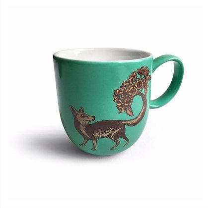 Fox Mug Teal Ceramic