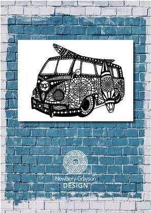 Mandala Camper Van A4 Giclée Art Print by Newbery-Grayson Design