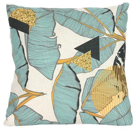 Teal Palm Print Fabric Cushion