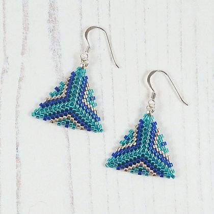 Patterned Blue & Silver Triangle Earrings by Beau Bella Jewellery