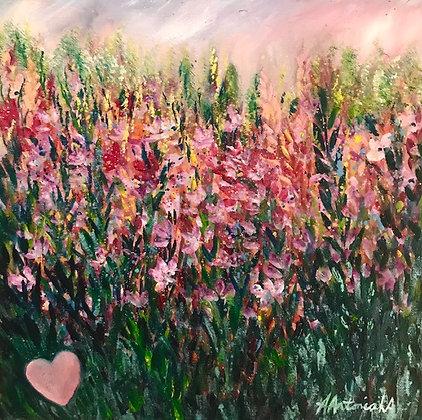 """Pink Flower Meadow"" by Amie Antoniak of Artfulness"