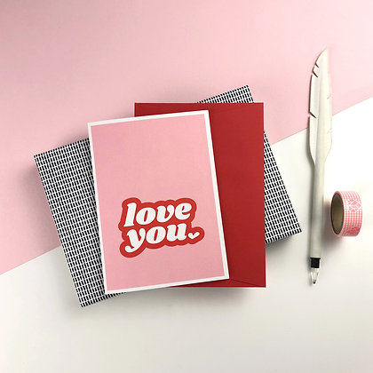 """LOVE YOU"" Card by Doodlemoo"