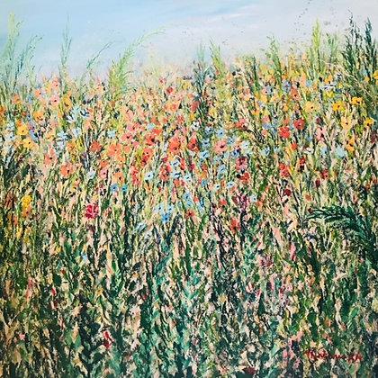 Meadow of spring flowers by Amie Antoniak
