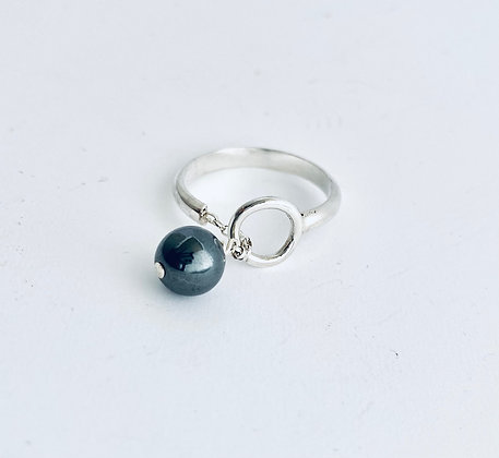 Silver and hematite ring -My Silver Design