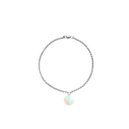 Silver Bracelet with Opal Charm